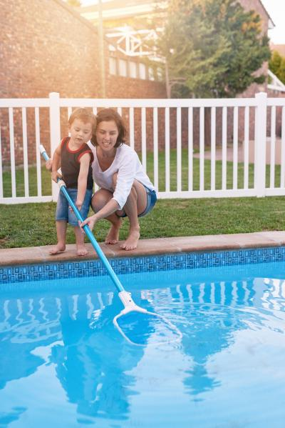 Regular maintenance keeps pool water sparkling